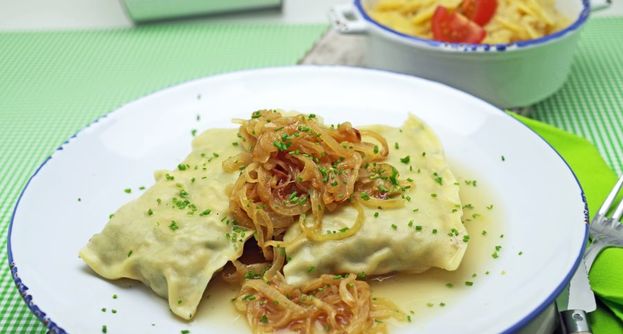 Maultaschen with glazed onions and potato salad